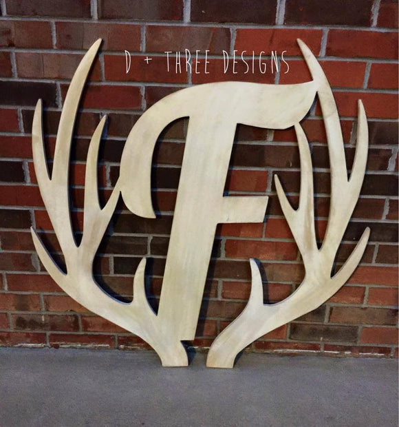 36 Inch Distressed Wooden Antler Monogram, Man Cave Decor, Rustic Monogram, Hunter Decor - You Pick The Stain Color or Paint Color