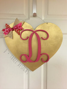 Monogram Valentine Heart Door Hanger/Valentine's Day Decor/Wooden Heart/Wooden Door Hanger /You Pick The Letter & Colors