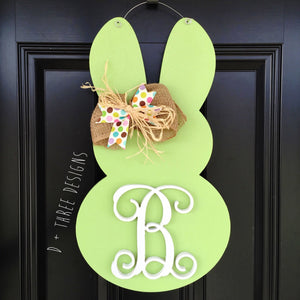 Monogram Easter Bunny Door Hanger, Easter Bunny, Easter Monogram, Easter Decor, Spring Wooden Monogram, You Pick Colors & Letter