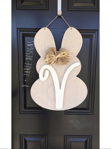 Rustic Monogram Easter Bunny Door Hanger, Easter Bunny, Easter Monogram, Easter Decor, Spring Wooden Monogram, You Pick Colors & Letter