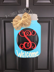 Monogram Southern Mason Jar Wooden Door Hanger, Country Decor, Country Wreath, Rustic Door Hanger, Summer Wreath, YOU PICK the COLORS