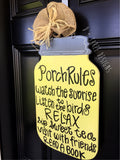 Southern Porch Mason Jar Wooden Door Hanger, Country Decor, Country Wreath, Rustic Door Hanger, Summer Wreath, YOU PICK the COLORS