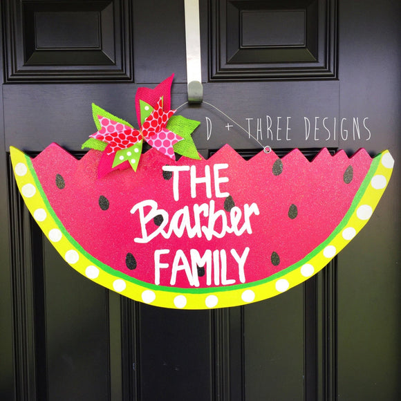 Shimmering Summer Watermelon Wooden Door Hanger Personalized & Bright // Summer Wreath // Slice of Summer