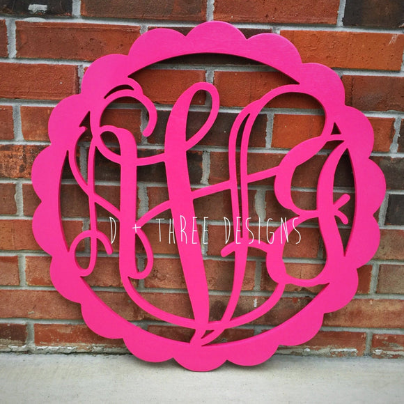 20 Inch Scallop Painted (You Pick Color) Circle Wooden Monogram, Letters, Home Decor, Door Hanger, Weddings, Nursery Letters, Dorm Decor