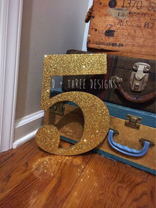 12 Inch Glittery Shimmering Wooden Numbers Painted (You Pick The Color), Birthday Numbers, Photo Prop, Birthday Decor