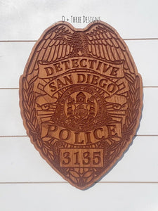 San Diego Police Badge // Personalized Police Badge or Patch // Police Retirement // Police Gift
