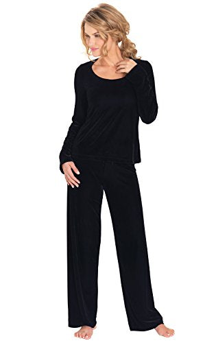 PajamaGram Women's Velour Pajamas w/Long-Sleeved Top and Pants