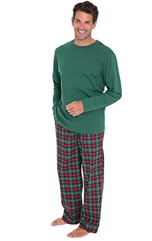 PajamaGram Men's Classic Plaid Flannel Pajamas Long-Sleeved Top