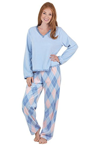 PajamaGram Women's Snuggle Fleece V-Neck Pajamas
