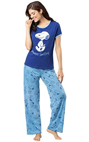 PajamaGram Women's Snoopy Short-Sleeve Pajamas - Blue