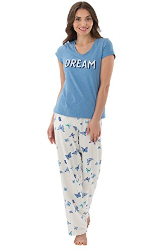 "PajamaGram ""Dream"" T-Shirt Butterfly Print Women's Pajamas, Blue"