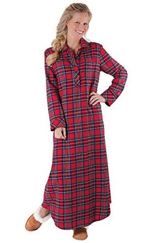 PajamaGram Women's Classic Plaid Flannel Gowns