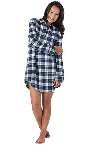 PajamaGram Women's Classic Plaid Flannel Nightgown
