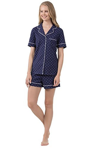 PajamaGram Cotton Jersey Oh-So-Soft Pin Dot Women's Pajamas - 2 Piece Short Set