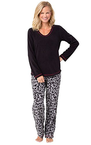 PajamaGram Women's Fleece Pajamas with Long-Sleeved Top
