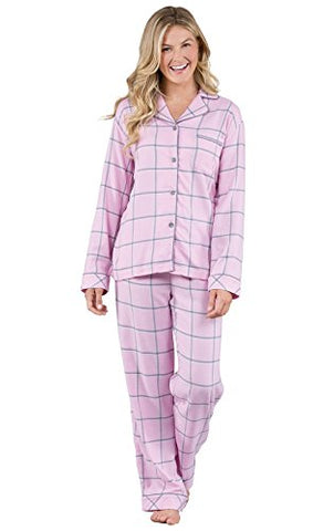 PajamaGram Women's World's Softest Flannel Plaid Boyfriend Pajamas, Pink