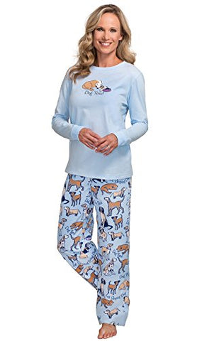 PajamaGram Women's Dog Tired Flannel Long-Sleeved Pajamas, Blue