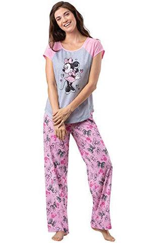 PajamaGram Women's Minnie Mouse Short-Sleeve Pajamas - Pink/Gray