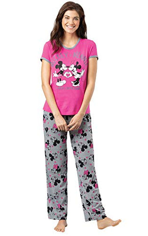 PajamaGram Women's Mickey & Minnie Mouse Short-Sleeve Pajamas - Pink/Gray
