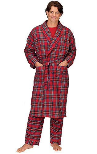 PajamaGram Men's Classic Plaid Flannel Robe