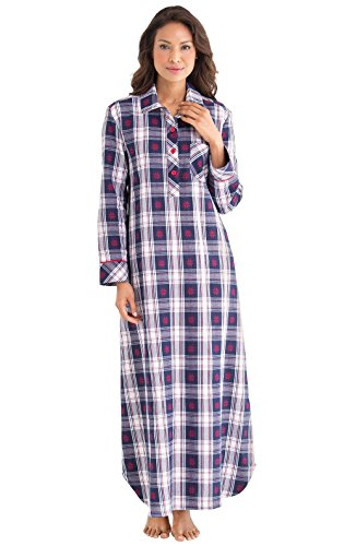 PajamaGram Women's Blue and Red Snowfall Plaid Flannel Gown