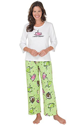 PajamaGram Women's I Need Coffee Cotton Pajamas, Green