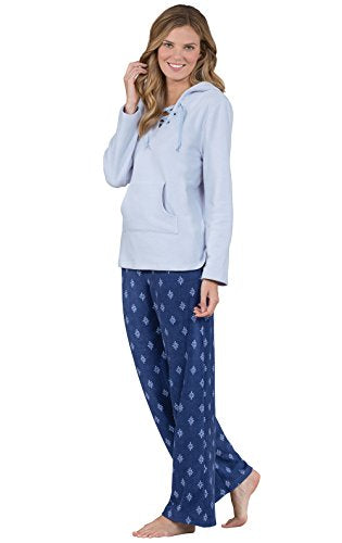 PajamaGram Long Sleeve Fleece Women's Pajamas with Hood, Blue