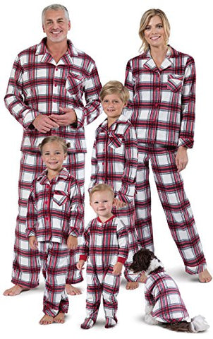 PajamaGram Fireside Fleece Button-Front Matching Family Pajamas, Red