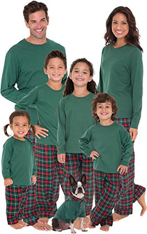 PajamaGram Plaid Flannel Christmas Matching Family Pajamas, Red/Green