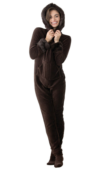 PajamaGram Hoodie-Footie Fur Trim Women's Onesie PJ, Mink Chocolate
