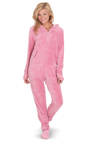 PajamaGram Women's Hoodie-Footie Fleece Onesie Pajamas