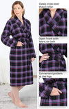PajamaGram Cotton Flannel Robe Womens - Soft Yarn Dyed Plaid