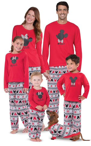 Mickey Mouse and Minnie Mouse Matching Family Pajamas, Red