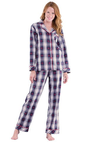 PajamaGram Button Down Pajamas for Women - Cotton Plaid, Blue/Red