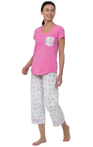 PajamaGram Pajamas for Women Cotton - Womens Capri Pajama Sets