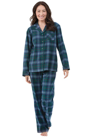 PajamaGram Flannel Pajamas Women Plaid - Button Front Womens Pajama Sets