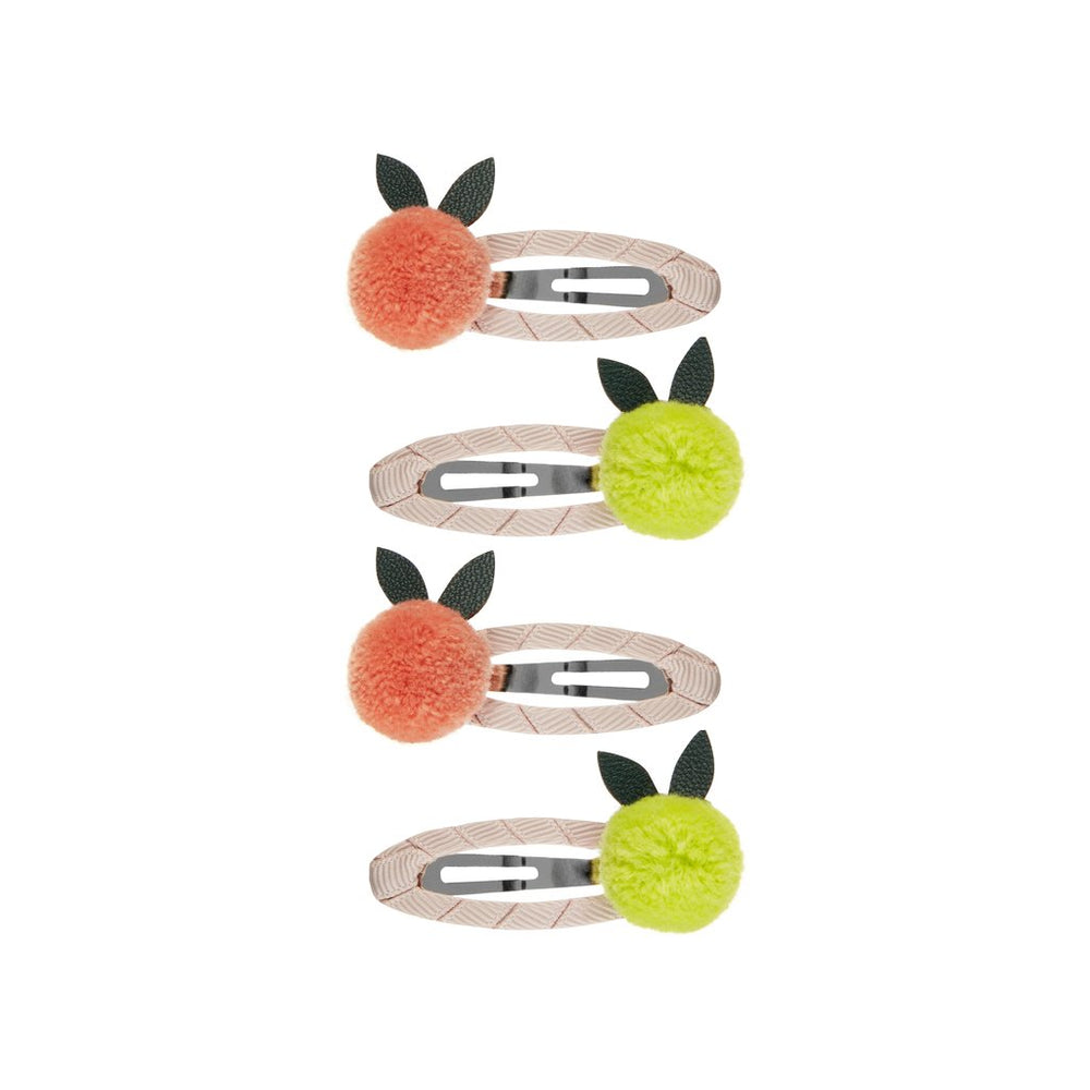 Mimi And Lulu Pure Color Hair Accessories Citrus Pom Pom Clic Clacs  Pack of 4