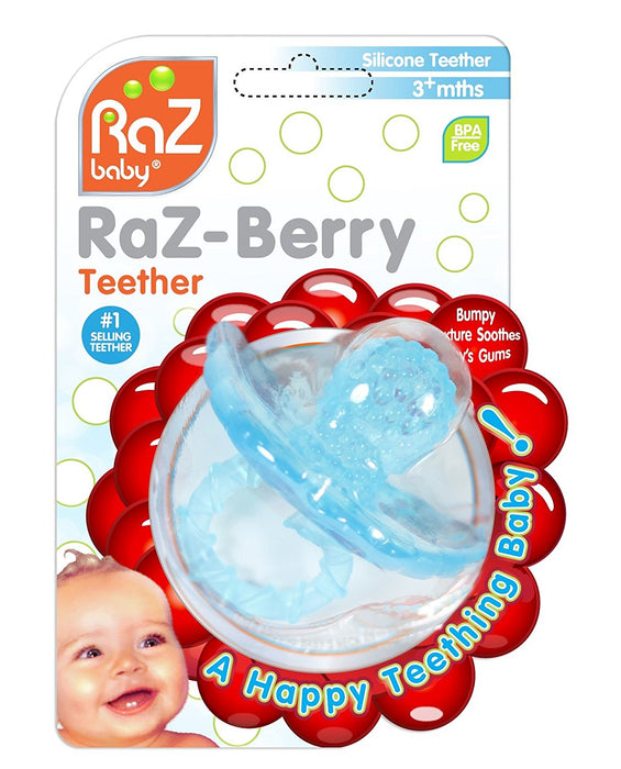 RaZbaby RaZ-Berry Non-Toxic Silicone Teether-Lt BLue