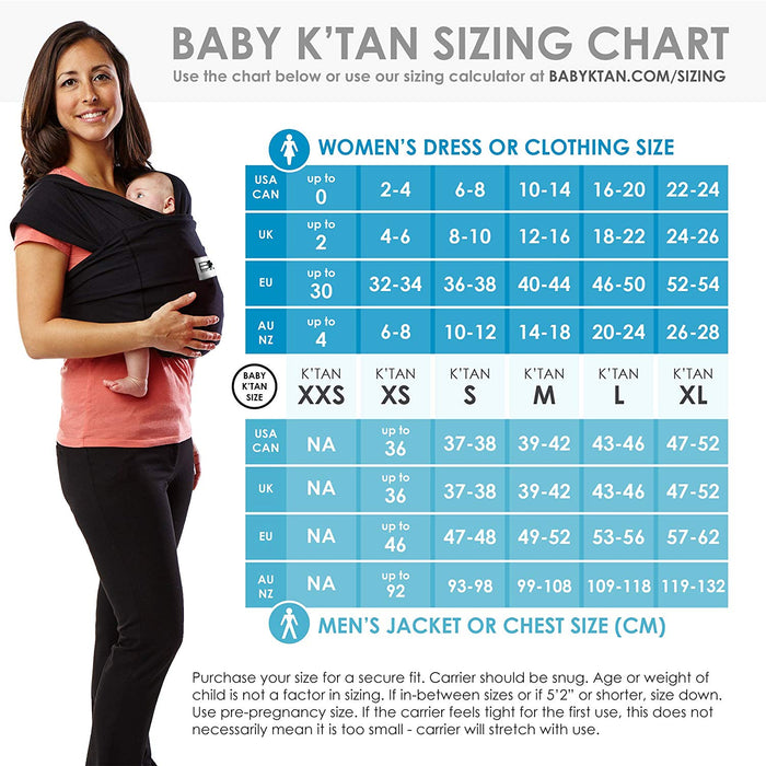 Baby K'tan - Print Baby Carrier Wrap Sling with Soft Cotton Knit, Multiple Ways to Wear