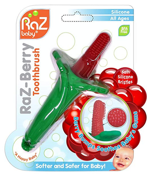 RaZbaby-100% Silicone RazBerry Ultra Soft  Baby's First Toothbrush