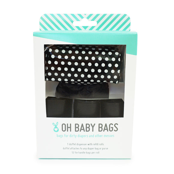 Duffel Dispenser Gift Box - Black with White Dots