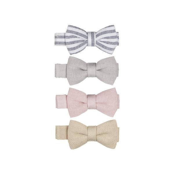 Hairpins - Iris Linen Bow Salon Clips - Mimi and Lula - 4pcs