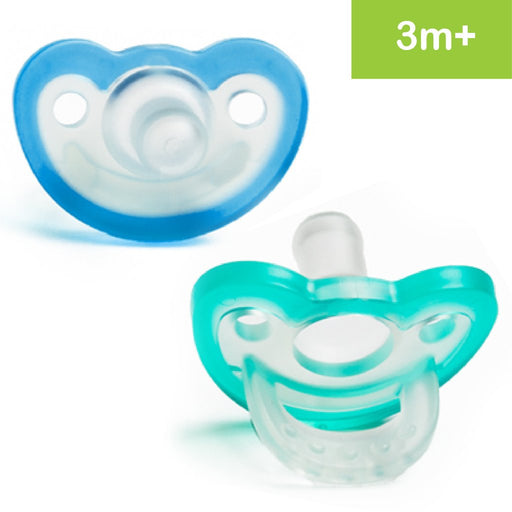 RaZbaby JollyPop Baby Pacifier Newborn, 3m+, Double Pack- Teal Blue