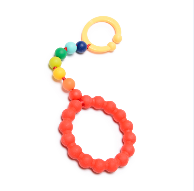 Chewbeads Gramercy Baby Teething Car Seat Toy and Stroller Toy Rainbow
