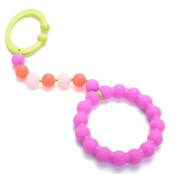 Chewbeads Gramercy Baby Teething Car Seat Toy and Stroller Toy Pink