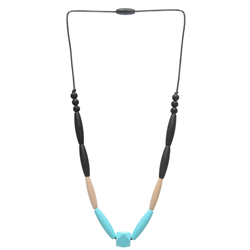 Chewbeads Brooklyn Collection Bedford Necklace Wood Teething Jewelry Turquoise