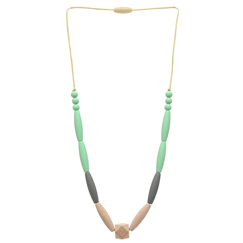Chewbeads Brooklyn Collection Bedford Necklace Wood Teething Jewelry Mint
