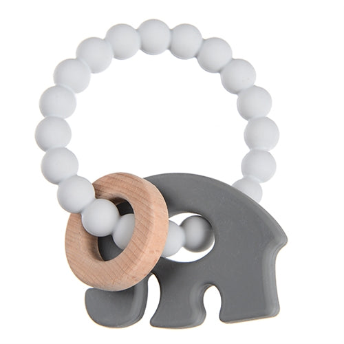 Chewbeads - Brooklyn Teether Baby Teething Wood Teething Ring Light Grey