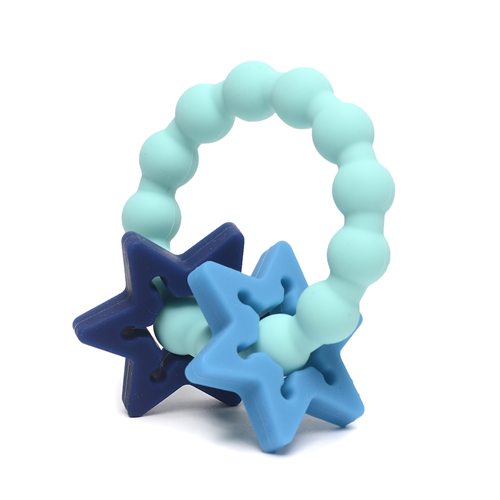 CB GO BY CHEWBEADS BABY 100%  SOFT SILICONE CENTRAL PARK TEETHER Turquoise