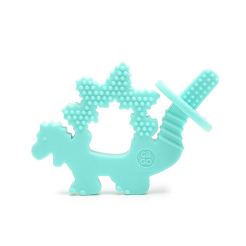 CB GO BY CHEWBEADS BABY 100% SILICONE CHEWPAL Turquoise Dinosaur